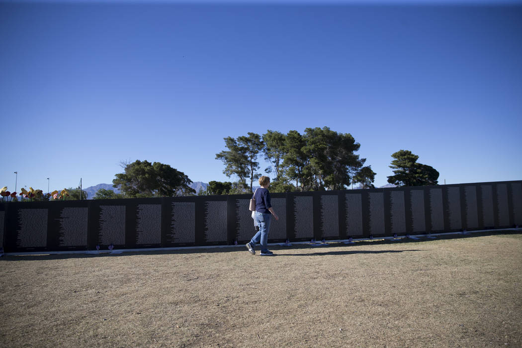 A replica of Vietnam Veterans Memorial Wall hosted by the American Veterans Traveling Tribute at Craig Ranch Park on Friday, May 19, 2017 in North Las Vegas. Erik Verduzco/Las Vegas Review-Journal