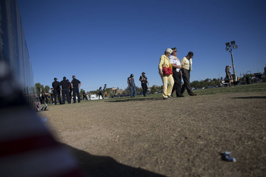 The opening ceremony for the replica of Vietnam Veterans Memorial Wall hosted by the American Veterans Traveling Tribute at Craig Ranch Park on Friday, May 19, 2017 in North Las Vegas. Erik Verduz ...