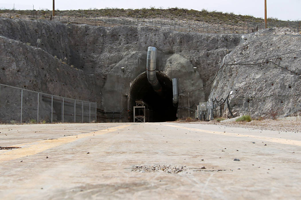 The north portal of the Yucca Mountain exploratory tunnel(Las Vegas Review-Journal)