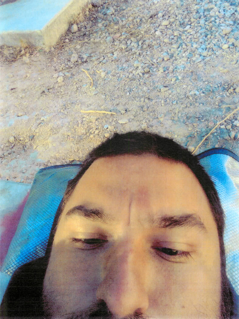 Selfie of Shane Schindler, which police found on his cell phone. The picture appears to show him laying on his back in the area where two middle-age homeless men were killed. (Las Vegas Metropolit ...