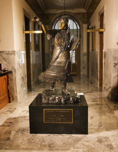 A statue of Sarah Winnemucca as seen Tuesday, Sept. 24, 2013 inside Nevada State Capitol Building in Carson City, Nev. A statue of her is also in the National Statuary Hall Collection in the U.S.  ...