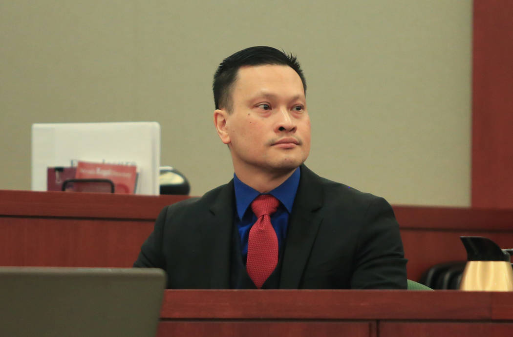 Binh Minh Chung, a doctor who is accused of video taping himself having sex with patients, takes the stand during his trial at the Regional Justice Center in Las Vegas on Thursday, May 18, 2017. B ...