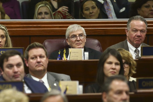 Assemblyman Skip Daly, D-Sparks, center, during Nevada Gov. Brian Sandoval's State of the State address, Jan. 17, 2017. (Chase Stevens/Las Vegas Review-Journal) @csstevensphoto