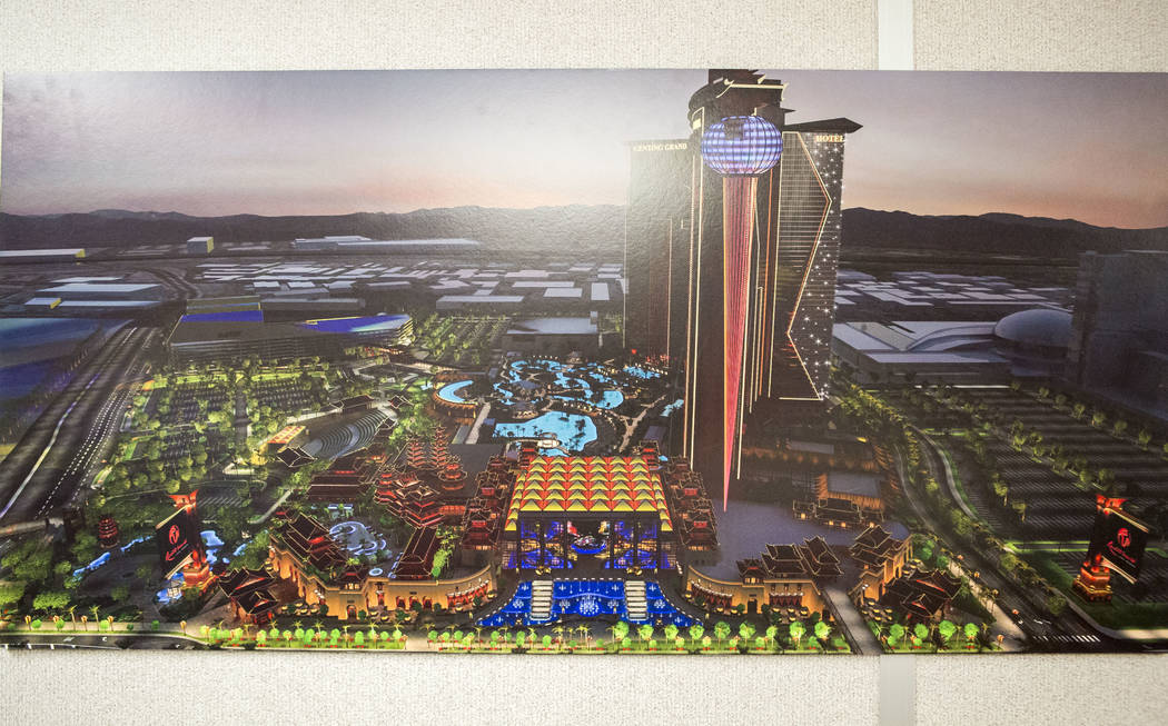 An architectural rendering of Resorts World at the construction office on the Las Vegas Strip on Wednesday, May 17, 2017. Patrick Connolly Las Vegas Review-Journal @PConnPie
