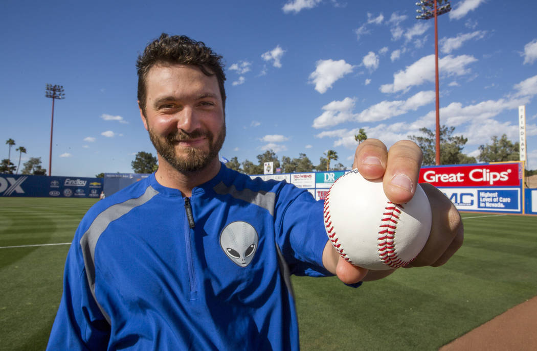 Las Vegas 51s pitcher Josh Smoker demonstrates his slider grip at Cashman Field on Wednesday, May 17, 2017. Patrick Connolly Las Vegas Review-Journal @PConnPie