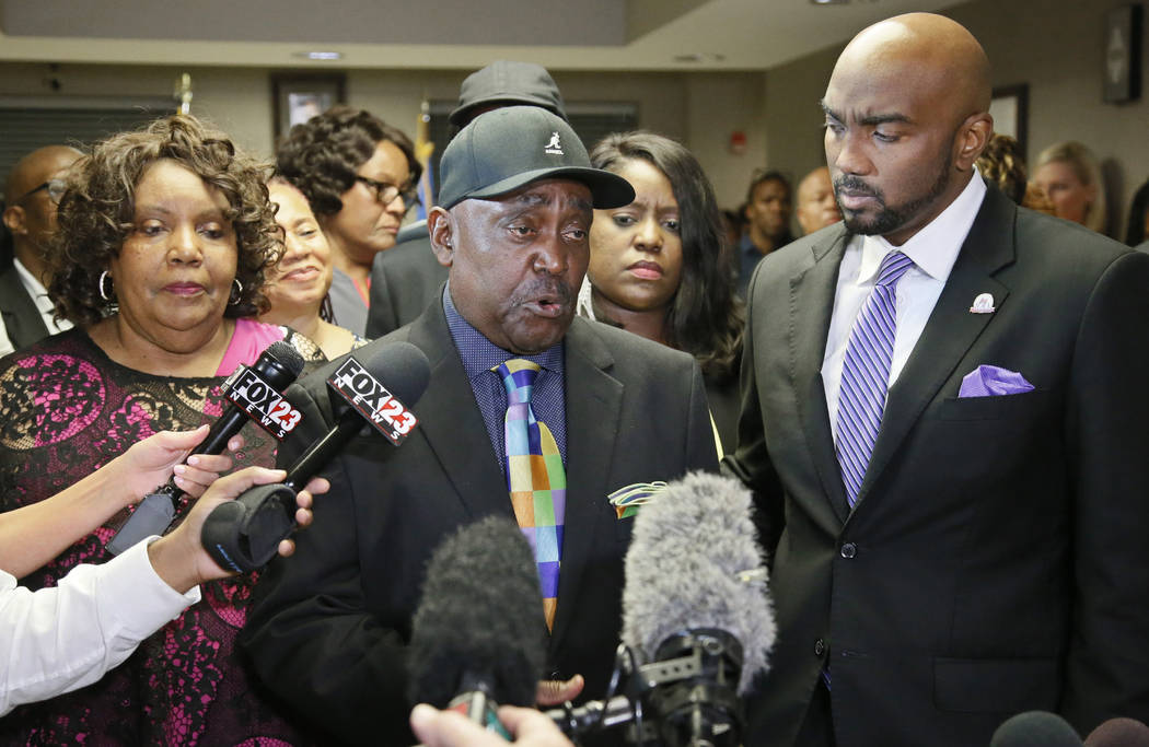 The Rev. Joey Crutcher, father of Terence Crutcher, talks with the media following the verdict in the trial of Betty Shelby in Tulsa, Okla., Wednesday, May 17, 2017.  (AP Photo/Sue Ogrocki)