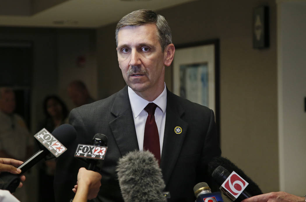 Steve Kunzweiler, Tulsa County District Attorney, talks with the media following a verdict in the trial of Tulsa police officer Betty Jo Shelby in Tulsa, Okla., Wednesday, May 17, 2017. Shelby was ...