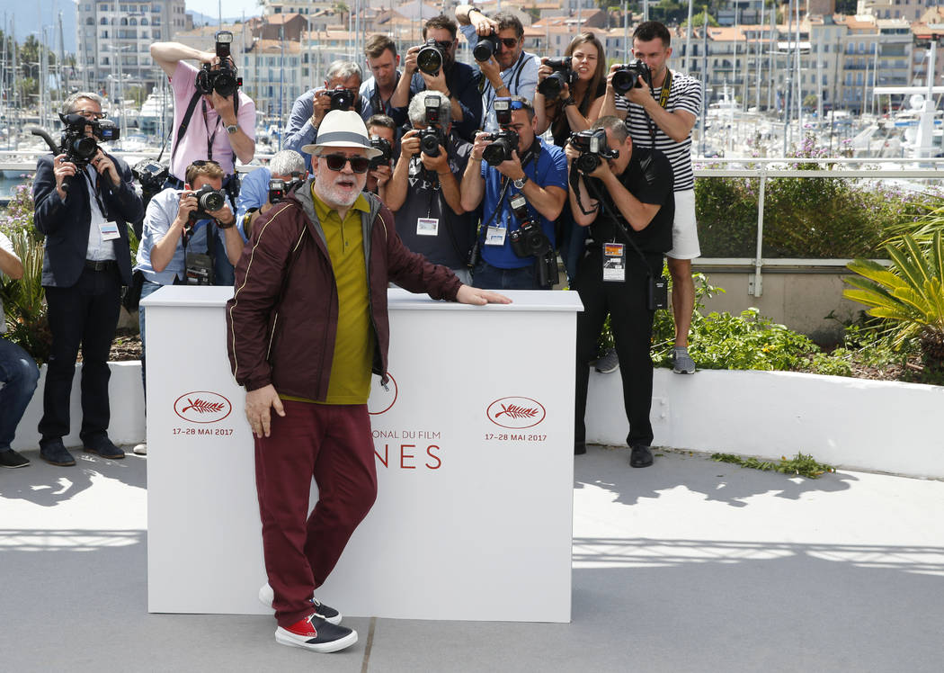 Jury president Pedro Almodovar poses for photographers during the photo call for the Jury at the 70th international film festival, Cannes, southern France, Tuesday, May 16, 2017. (AP Photo/Alastai ...