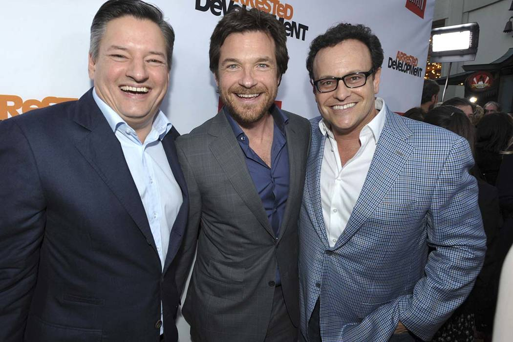 "Ted Sarandos, Jason Bateman, and Mitchell Hurwitz attend the season four premiere of ""Arrested Development"" in Los Angeles. Netflix announced on May 17 that the series would return for a fifth sea ..."