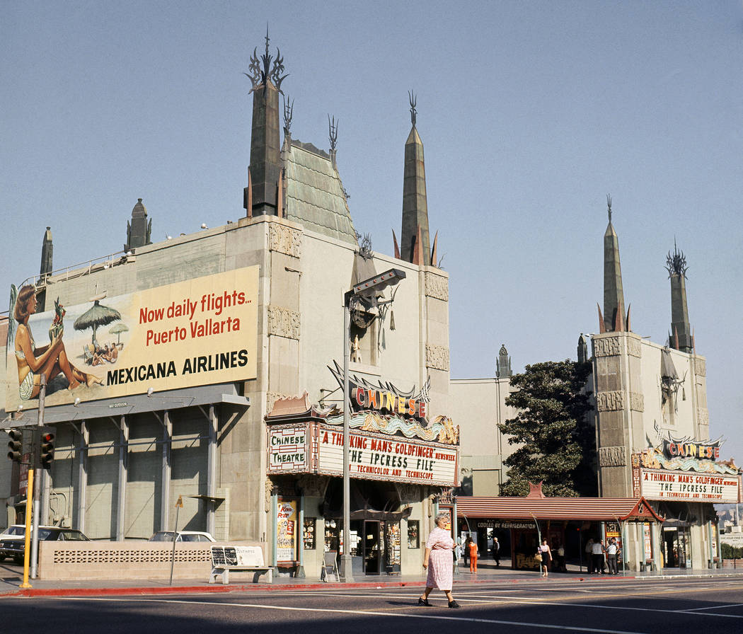 This 1965 file photo shows the exterior of Grauman's Chinese Theater in Los Angeles. The storied Hollywood Boulevard movie palace opened its doors on May 18, 1927. (AP Photo/Harold Filan, File)
