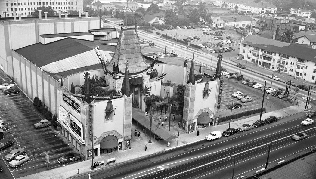 This 1952 file photo shows an aerial view of Grauman's Chinese Theater in the Hollywood section of Los Angeles. The storied Hollywood Boulevard movie palace now known as the TCL Chinese Theatre op ...