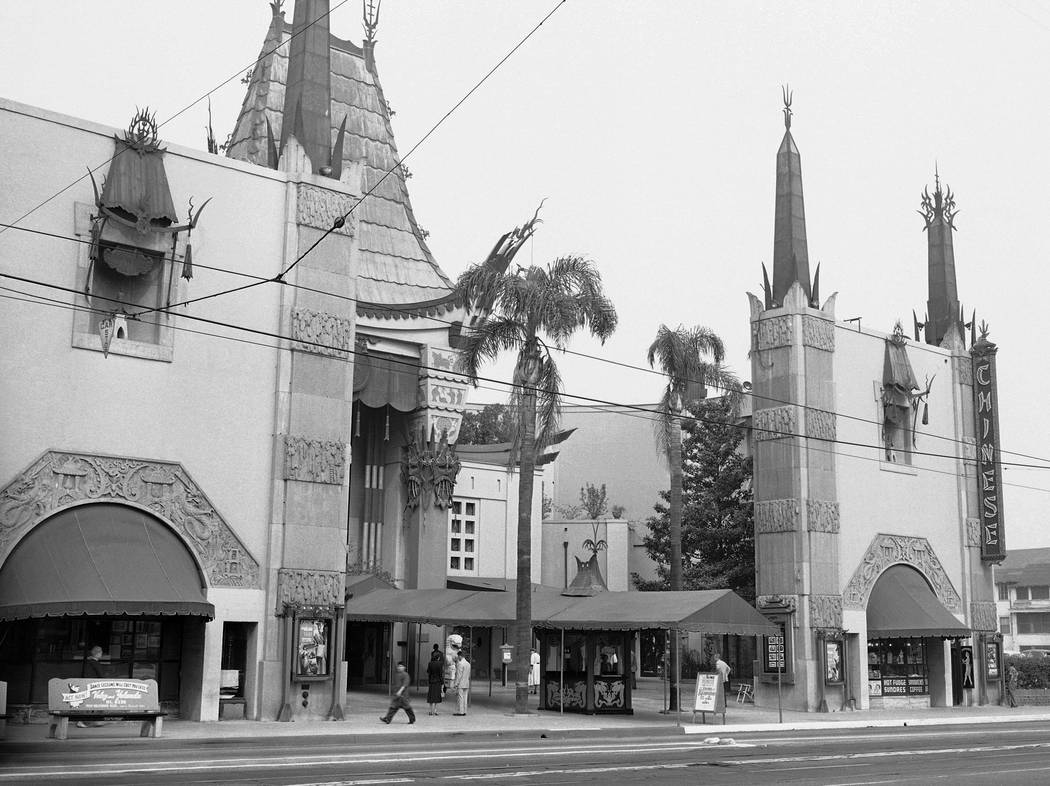 This 1952 file image shows the exterior of the Grauman's Chinese Theater in the Hollywood section of Los Angeles. The storied Hollywood Boulevard movie palace, originally named Grauman's Chinese ...
