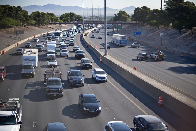 Traffic is backed up on southbound Interstate 15 in Las Vegas on Monday, June 20, 2016. (Daniel Clark/Las Vegas Review-Journal) @DanJClarkPhoto
