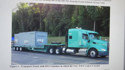 Transport truck with nuclear waste cask. Department of Energy photo