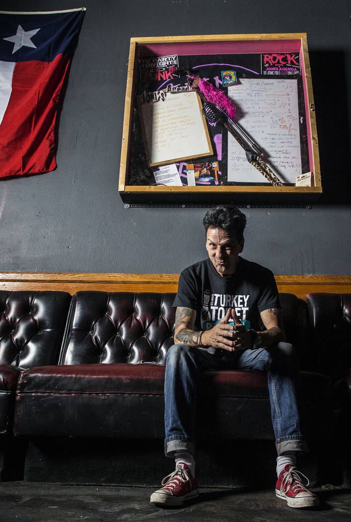 Drummer Joe Mascolino created a memorial at The Dive Bar for punk band Joni's Agenda bandmate and frontwoman Joni Mackin, who died in a car accident earlier this year. Photo taken on Thursday, May ...