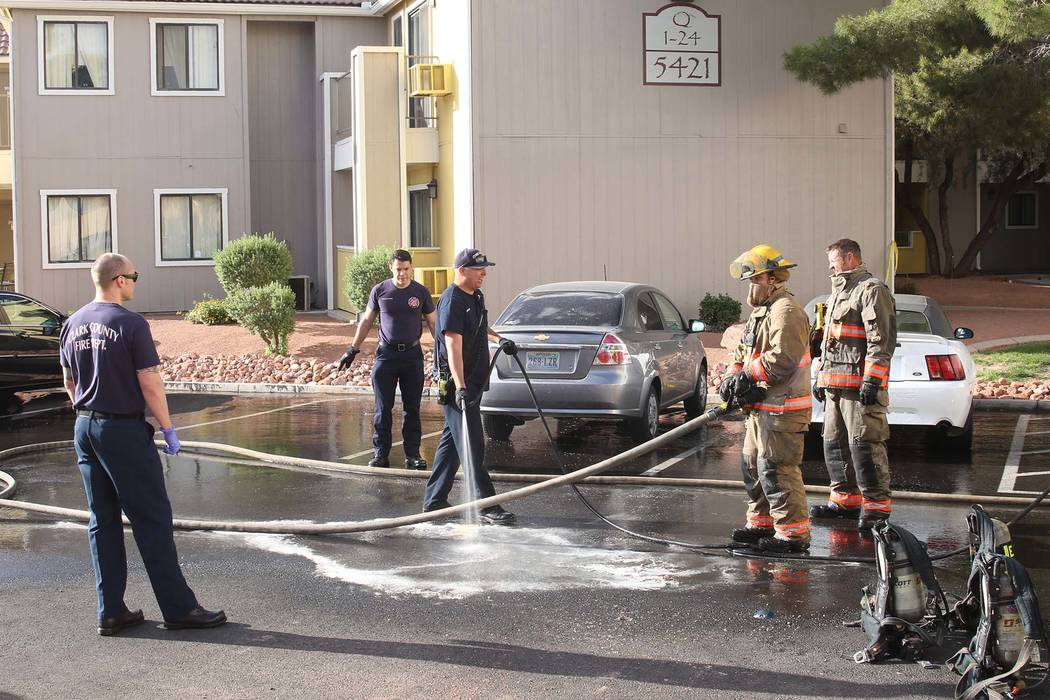 Clark County firefighters responded to a fire at an apartment building at 5421 E. Harmon Ave., near Boulder Highway, on Monday, May, 15, 2017, in Las Vegas. (Bizuayehu Tesfaye/Las Vegas Review-Jou ...