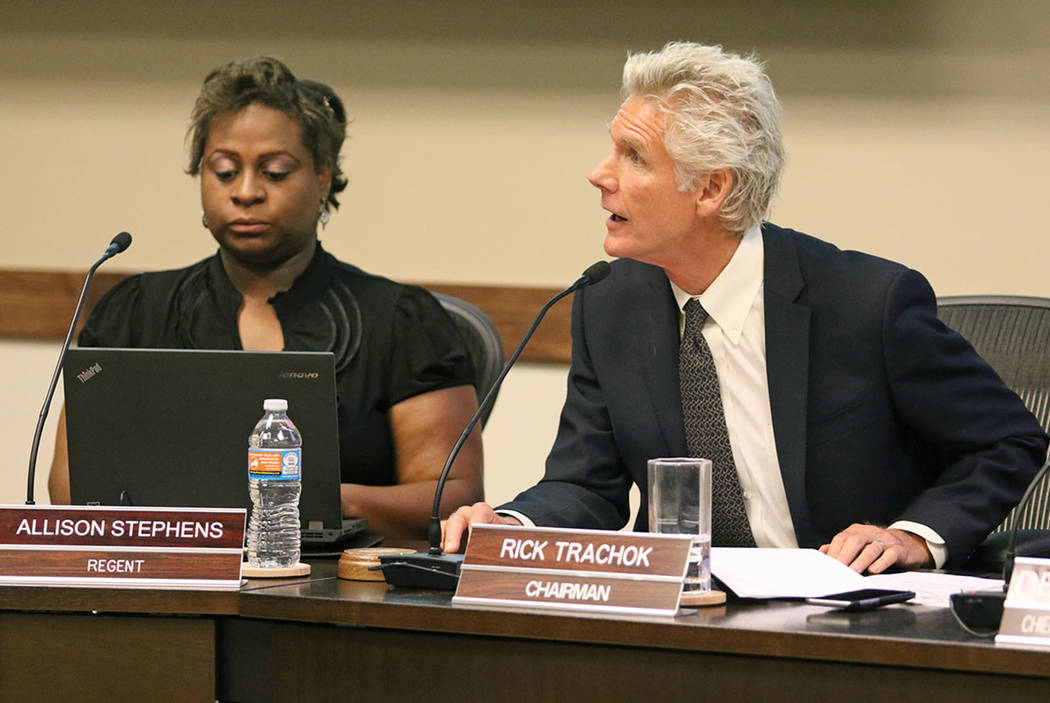 Rick Trachok, right, chairman of Board of Regents, leads a special meeting at Nevada System of Higher Education Friday, May 27, 2016, in Las Vegas. Regent Allison Stephens is shown at left. Ronda  ...