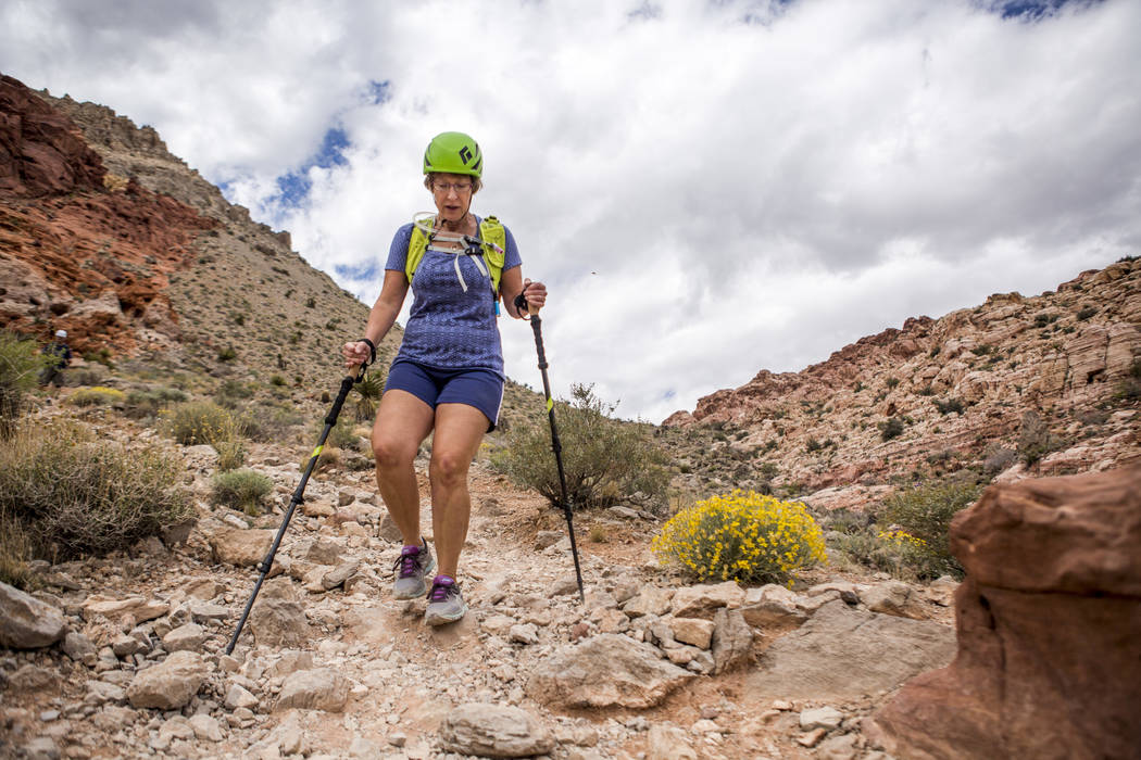 Candace Kawatsu hikes on the Kraft Mountain Loop trail in Calico Basin on Thursday, May 18, 2017. Patrick Connolly Las Vegas Review-Journal @PConnPie