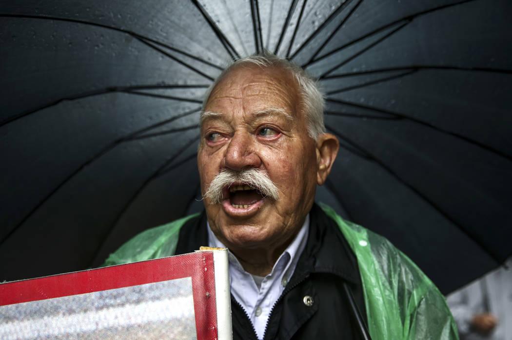 A Greek pensioner chants slogans during an anti-austerity rally, in Athens, Thursday, May 18, 2017. (Yorgos Karahalis/AP)