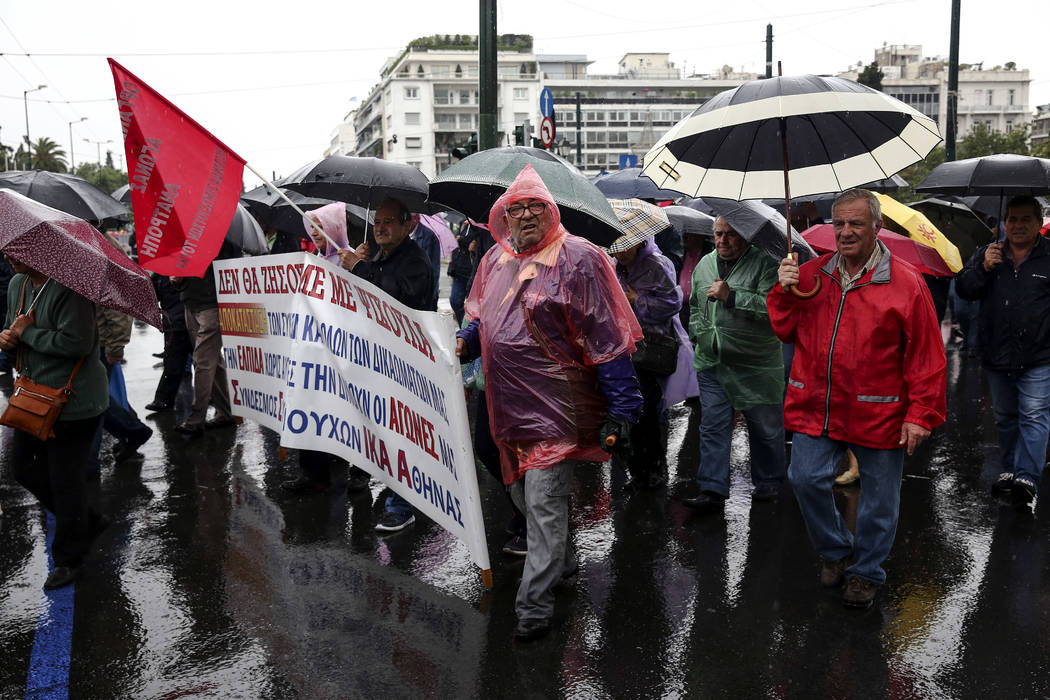 Greek pensioners chant slogans during an anti-austerity rally, in Athens, Thursday, May 18, 2017. (Yorgos Karahalis/AP)