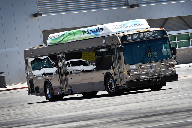 A natural gas-powered bus is driven in a Regional Transportation Commission service facility in Las Vegas on Monday, June 22, 2015. (David Becker/Las Vegas Review-Journal)