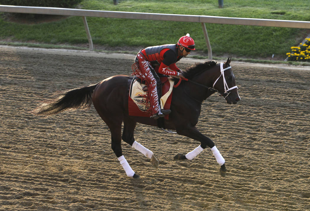 Preakness contender Classic Empire gallops on the track during a workout at Pimlico Race Course in Baltimore, Thursday, May 18, 2017. The Preakness Stakes horse race is scheduled to take place May ...