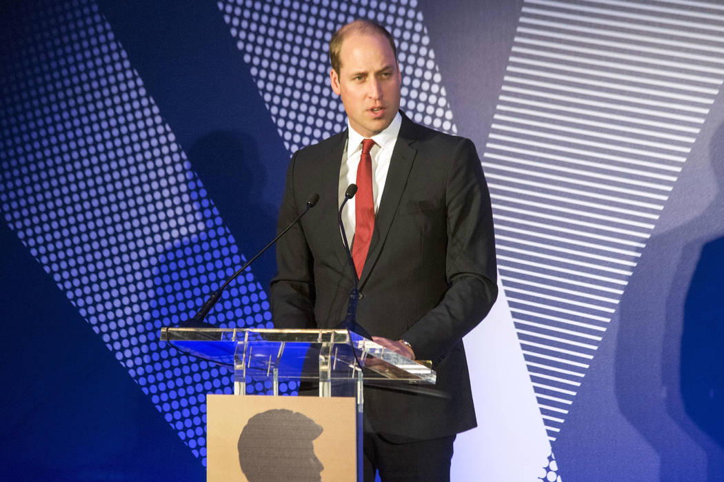 Britain's Prince William speaks during a ceremony The Diana Award's inaugural Legacy Award, at St James' Palace in London, Thursday, May 18, 2017.  (Paul Grover/Pool Photo via AP)