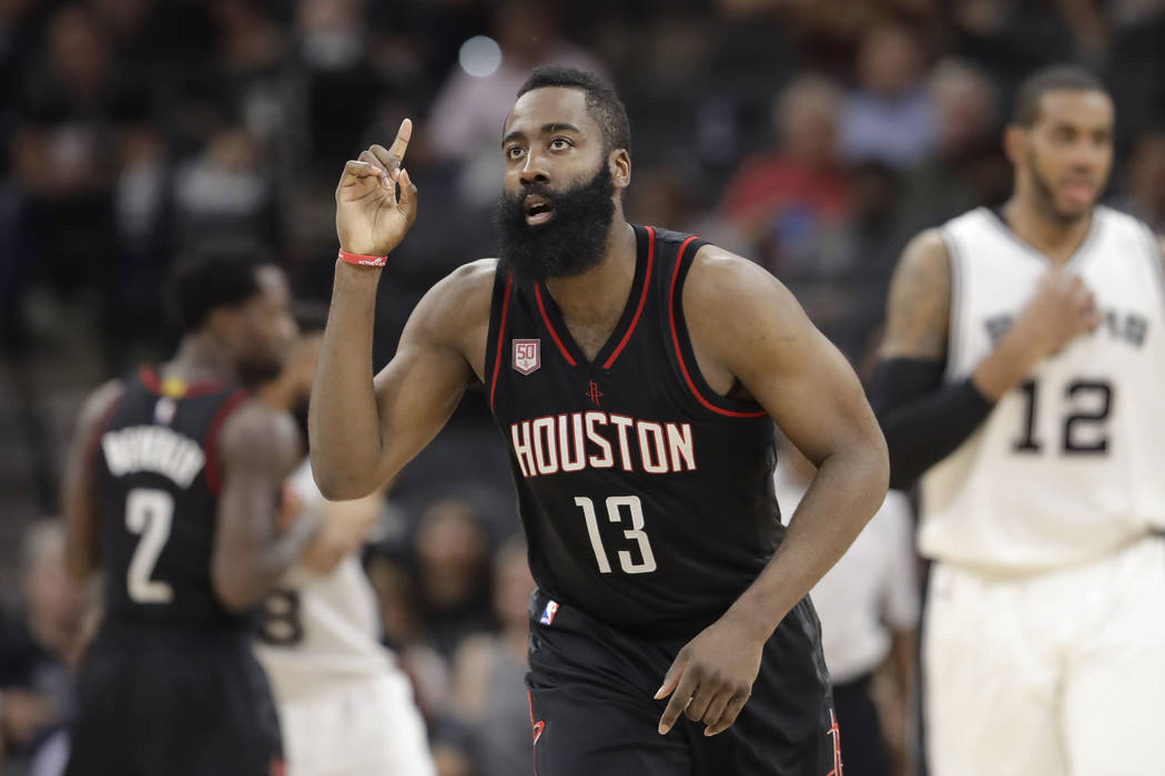 In this May 9, 2017, file photo, Houston Rockets guard James Harden (13) gestures during the second half of Game 5 in a second-round NBA basketball playoff series against the San Antonio Spurs, in ...
