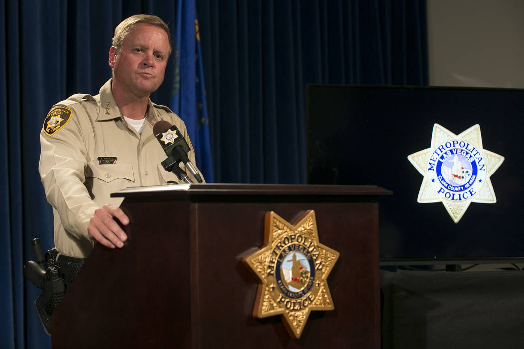 Metropolitan Police Department Undersheriff Kevin McMahill speaks on an incident involving Tashii Brown during a press conference at Las Vegas Metropolitan Police Department Wednesday, May 17, 201 ...