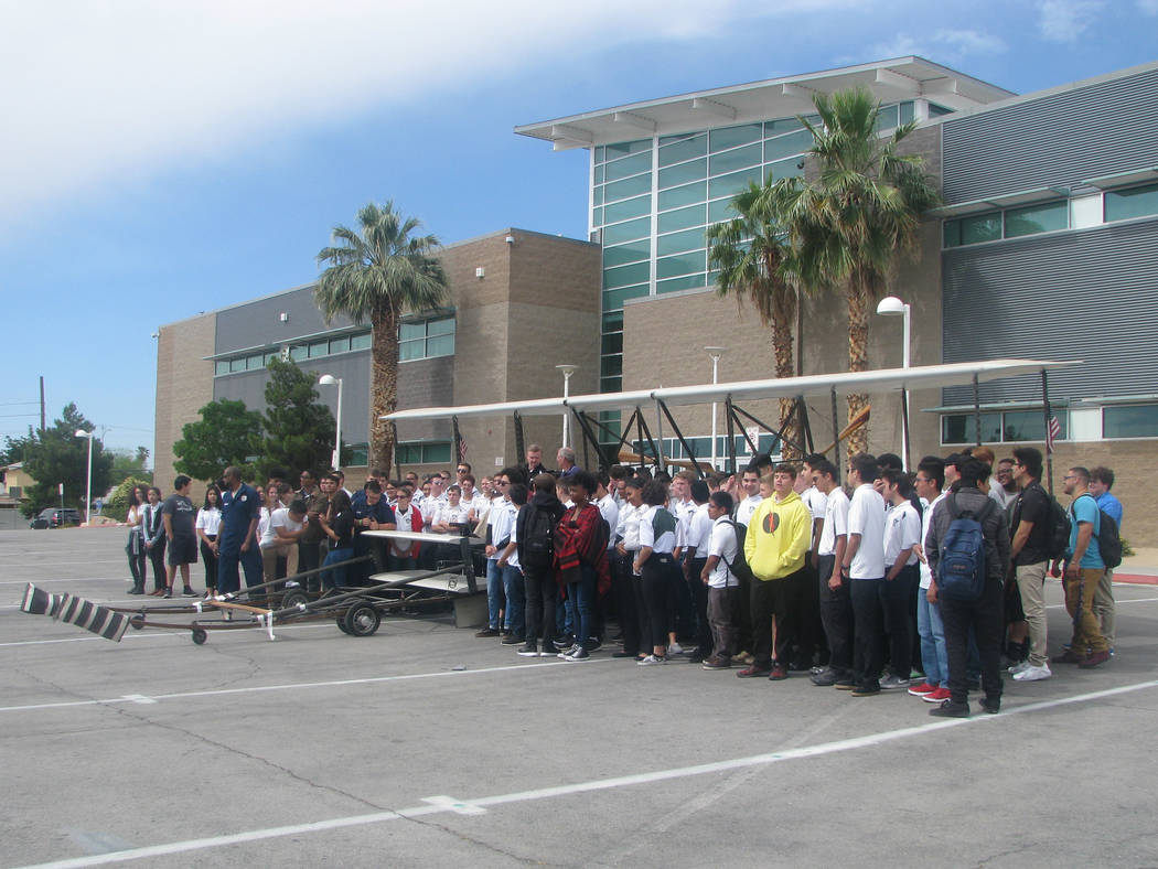 A functional replica of the Wright Brothers second plane was delivered to Rancho High School at 1900 E Searles Ave, on May 15, 2017. (F. Andrew Taylor/View)