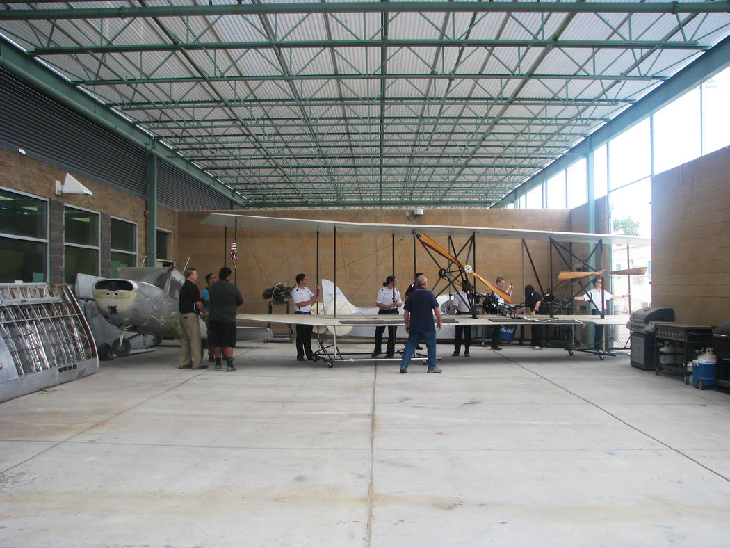 Students and staff had to navigate some tight corners to move a functional replica of the Wright Brothers second plane into  Rancho High School at 1900 E Searles Ave, on May 15, 2017. (F. Andrew T ...