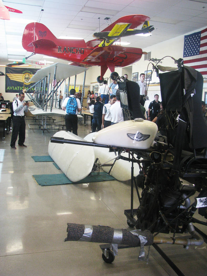 A replica of the Wright Brothers second plane was moved in several pieces into the aviation classroom at Rancho High School at 1900 E Searles Ave, on May 15, 2017. The plane is not an exact replic ...