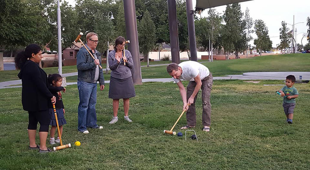 Neighbors from the Huntridge area enjoy lawn games at Huntridge Circle Park, 1251 S. Maryland Parkway on May 16, 2017 (Alison Chambers/Special to View)
