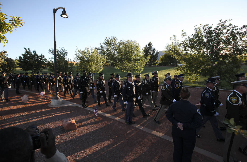 The Multi-Jurisdictional Honor Guard during the annual Southern Nevada Law Enforcement Memorial at Police Memorial Park in Las Vegas on Thursday, May 18, 2017. The year's multi-agency ceremony add ...