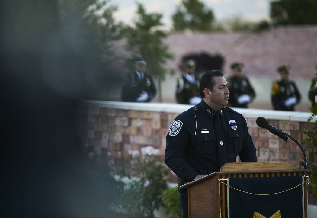 North Las Vegas Police Chief Alex Perez during the annual Southern Nevada Law Enforcement Memorial at Police Memorial Park in Las Vegas on Thursday, May 18, 2017. The year's multi-agency ceremony  ...
