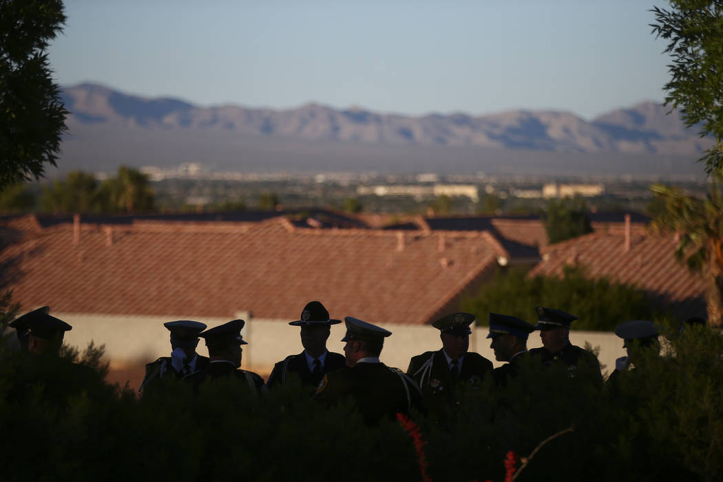 Members of the Multi-Jurisdictional Honor Guard before the start of the annual Southern Nevada Law Enforcement Memorial at Police Memorial Park in Las Vegas on Thursday, May 18, 2017. The year's m ...