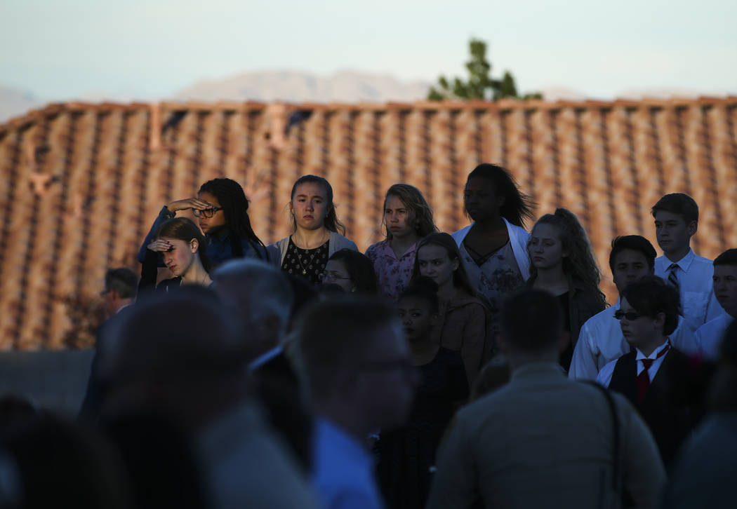 Choir members during the annual Southern Nevada Law Enforcement Memorial at Police Memorial Park in Las Vegas on Thursday, May 18, 2017. The year's multi-agency ceremony added 13 officers who died ...