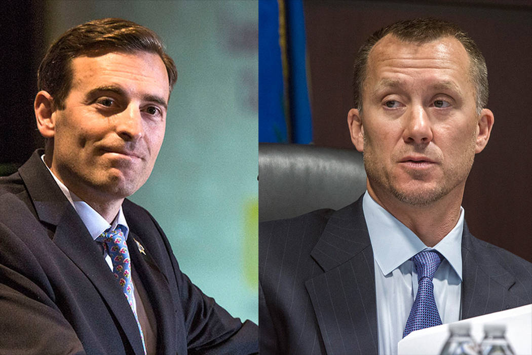 Nevada Attorney General Adam Laxalt and Gaming Control Board Chairman A.G. Burnett (Las Vegas Review-Journal)
