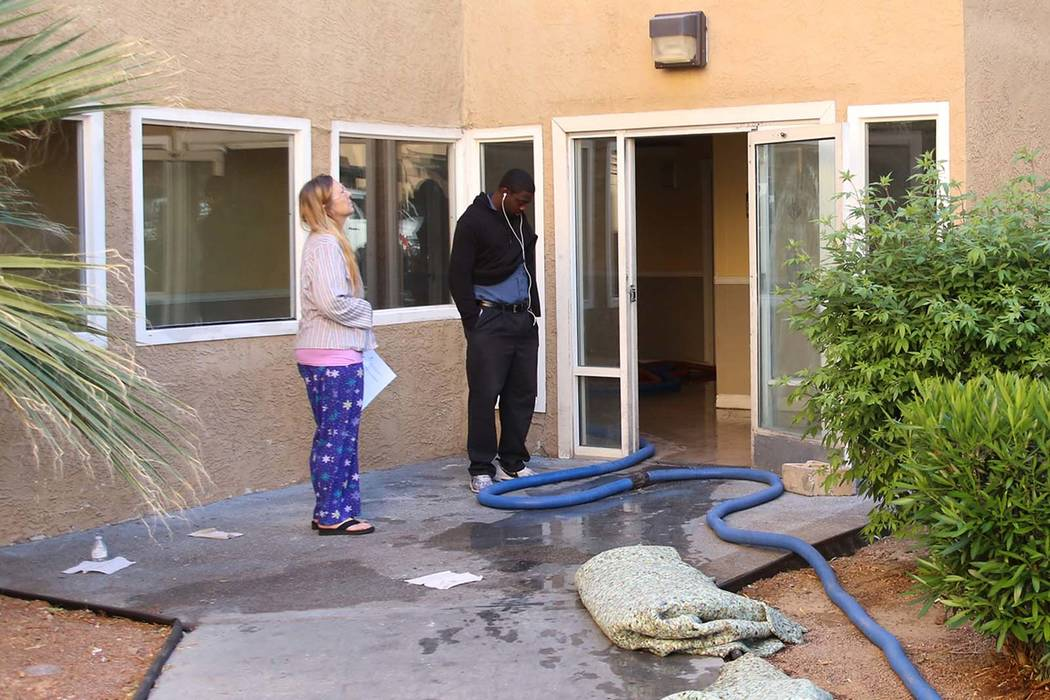 More than 80 people were displaced after a two-alarm apartment fire at Desert Pointe Apartments, 995 Sierra Vista Drive, on Wednesday, May 17, 2017, in Las Vegas. (Bizuayehu Tesfaye Las Vegas Revi ...