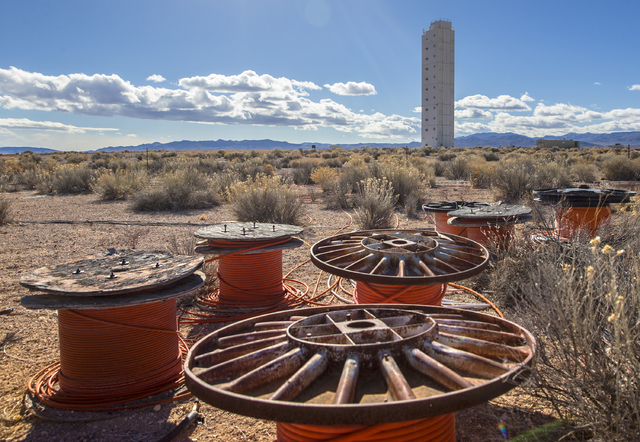 The diagnostics canister tower with cable reels at Icecap Ground Zero on Wednesday, Jan., 11, 2017, at the Nevada National Security Site, in Mercury, Nevada. Benjamin Hager/Las Vegas Review-Journal