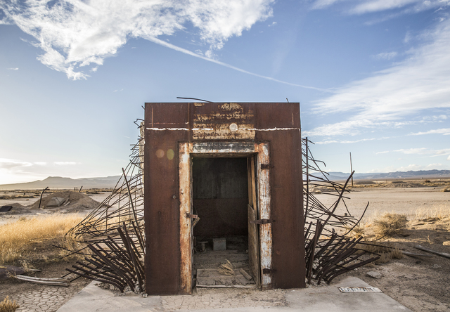 The remains from a vault built to measure the effects from the 1957 nuclear detonation test Priscilla at Frenchman Flat. Photo taken on Wednesday, Jan., 11, 2017, at the Nevada National Security S ...