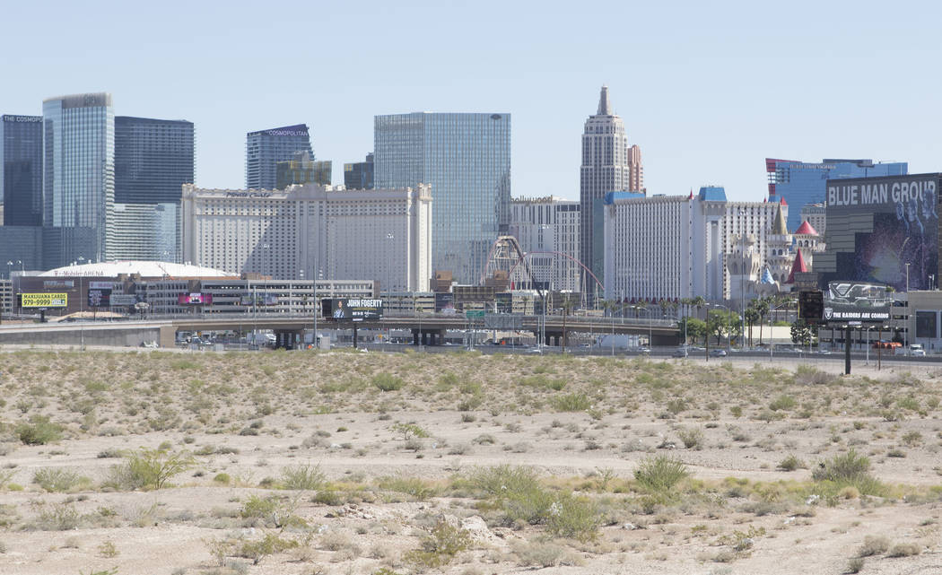 A view from Russell Road of the 62-acre property where the Raiders plan to build their stadium in Las Vegas on Friday, May 19, 2017. (Heidi Fang/Las Vegas Review-Journal) @HeidiFang
