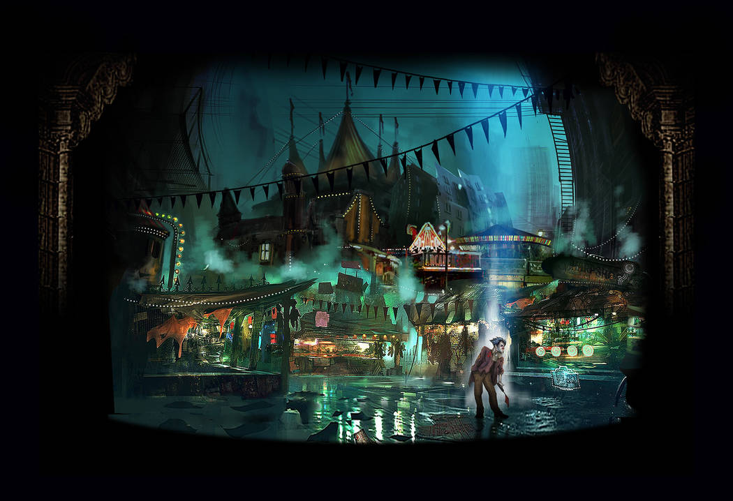 "A rendering of the shadowy realm known as ""Clowntown,"" the setting for a musical workshopping this weekend at UNLV."
