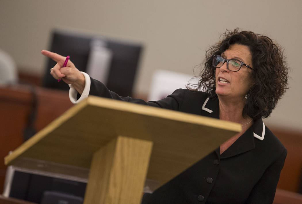 Prosecutor Lisa Luzaich makes her closing arguments in the trial of Dr. Binh Minh Chung at the Regional Justice Center in Las Vegas on Friday, May 19, 2017. Richard Brian Las Vegas Review-Journal  ...