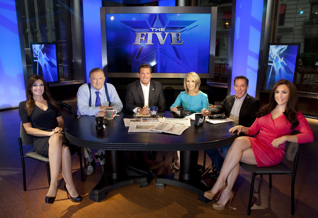 "Kimberly Guilfoyle, left, Bob Beckel, Eric Bolling, Dana Perino, Greg Gutfeld and Andrea Tantaros co-hosts of Fox News Channel's ""The Five""  following a taping of the show in New York in 2013. (Ca ..."