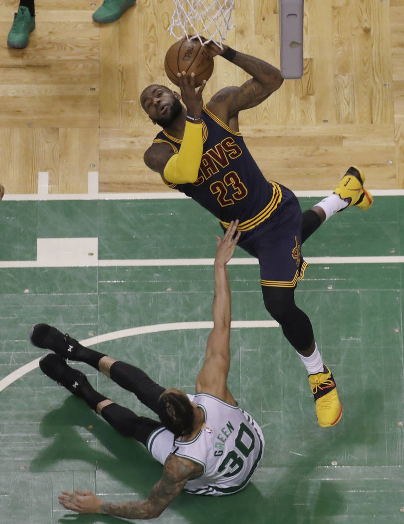 Cleveland Cavaliers forward LeBron James (23) shoots over Boston Celtics forward Gerald Green (30) during first half of Game 2 of the NBA basketball Eastern Conference finals, Friday, May 19, 2017 ...