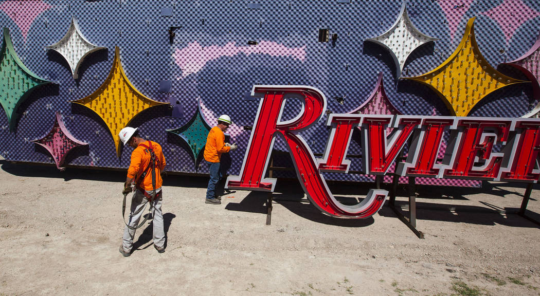 A part of the Stardust hotel-casino sign that was kept in storage is delivered to the Neon Museum in Las Vegas on Friday, May 19, 2017. The sign is one of approximately 30 in storage slated to be  ...