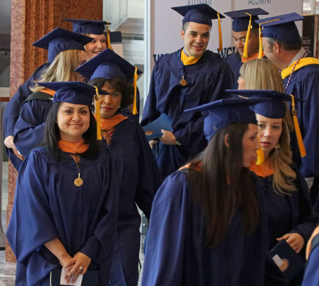 Graduates of Western Governors University Nevada line up to enter Reynolds Hall at the Smiths Center for the Performing Arts, Saturday, May 20, 2017. Gabriella Benavidez Las Vegas Review-Journal @ ...