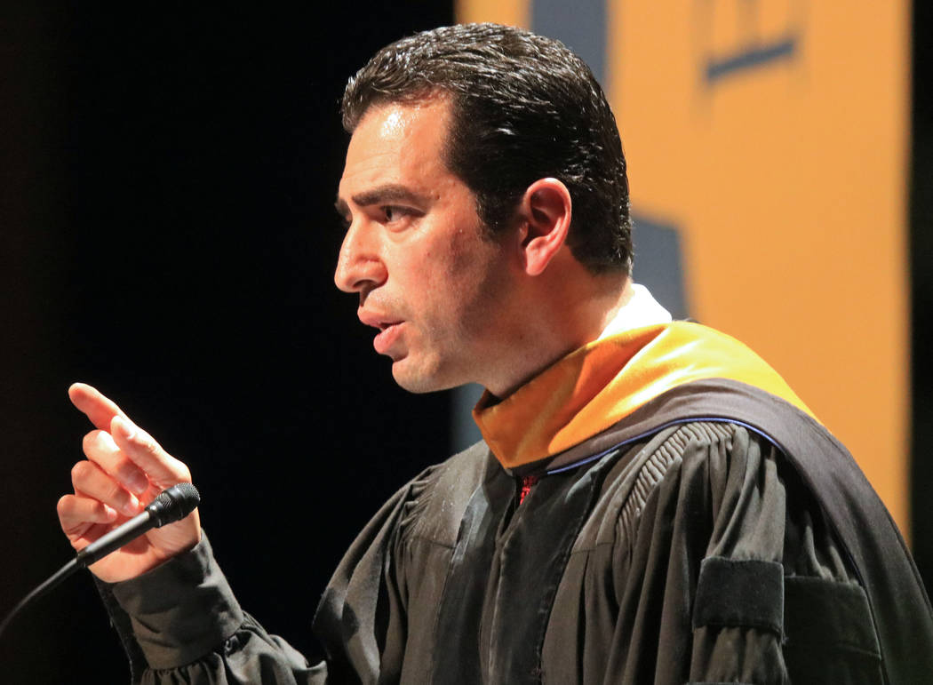 U.S. Rep. Ruben Kihuen, D-Nev., delivers a speech to the graduates of Western Governors University Nevada at the Smiths Center for the Performing Arts, Saturday, May 20, 2017. Gabriella Benavidez  ...