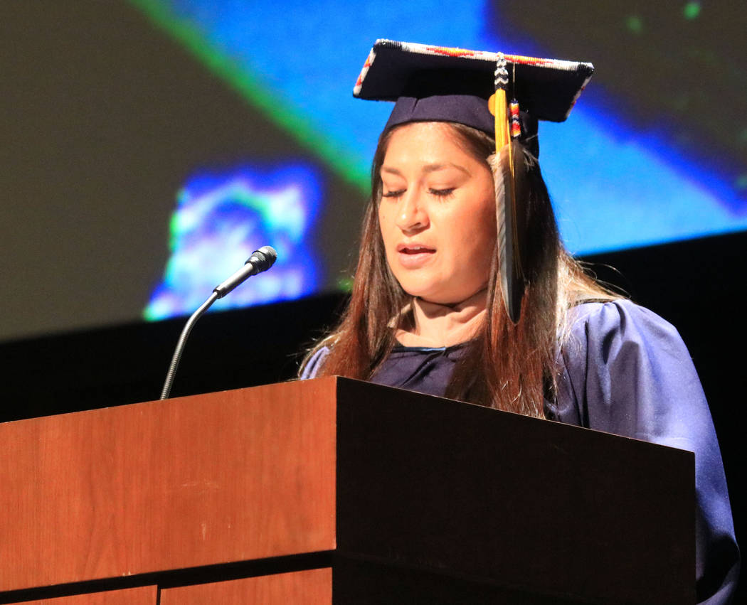 Graduate speaker Carrie Brown addresses her fellow graduates of Western Governors University Nevada at the Smiths Center for the Performing Arts, Saturday, May 20, 2017. Gabriella Benavidez Las Ve ...